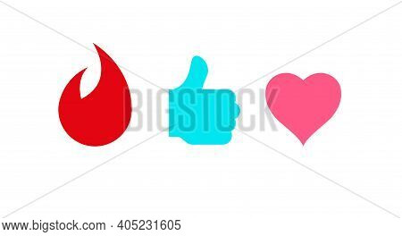 Flame, Thumb Up And Heart Icons. Flat Vector Illustration Isolated On White.