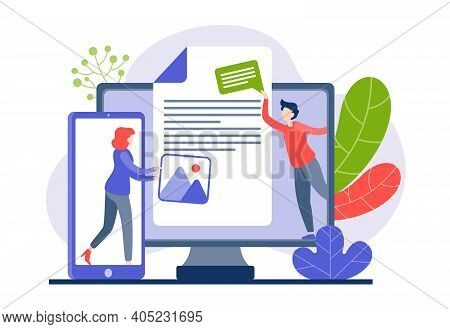 People Transfer Files From Mobile Gadgets To Computer Vector Flat Illustration. Female Male Characte