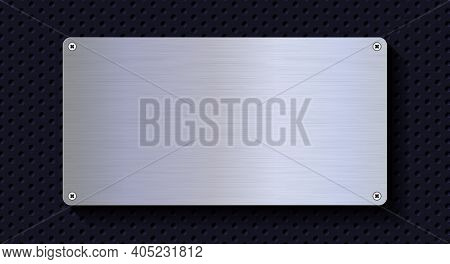 Aluminum Metal Plate. Realistic Shiny Metal Banner. Black Metal Texture Steel Background. 3d Realist