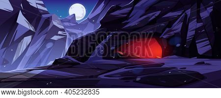 Mountains With Entrance To Cave Lit From Within At Night. Vector Cartoon Winter Landscape With Rocks