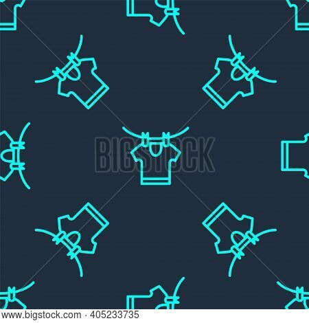 Green Line Drying Clothes Icon Isolated Seamless Pattern On Blue Background. Clean Shirt. Wash Cloth