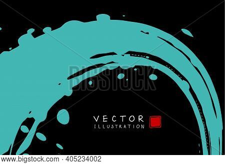 Abstract Ink Background. Chinese Japanese Calligraphy Art Style, Cyan Paint Stroke Texture On Black