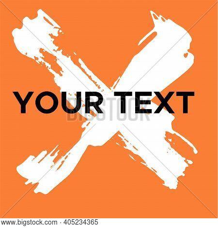 Vector Cross Shape On Orange. White Cross Stamp. Icon, Logo, Banner Design. Cross Brush Abstract Str