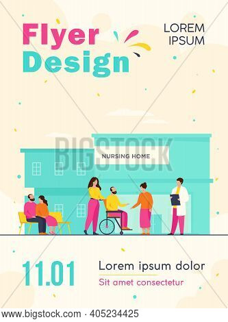 Nursing Home Residents. Old People Walking Outside With Caregivers And Visitors. Vector Illustration