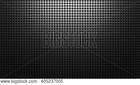 Black Metal Background Of Small Circles. Pattern Mesh Abstract 3d Render. Carbon Materal. Texture Gr