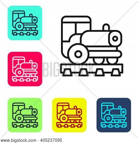 Black Line Vintage Locomotive Icon Isolated On White Background. Steam Locomotive. Set Icons In Colo