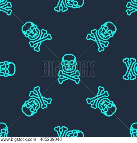Green Line Skull On Crossbones Icon Isolated Seamless Pattern On Blue Background. Happy Halloween Pa