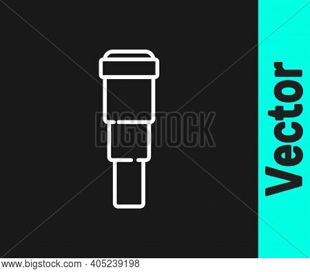 White Line Spyglass Telescope Lens Icon Isolated On Black Background. Sailor Spyglass. Vector