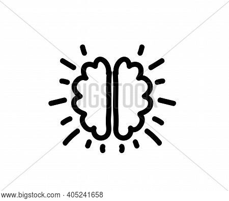 Two Hemispheres Of The Brain On A White Background. Symbol. Vector Illustration.