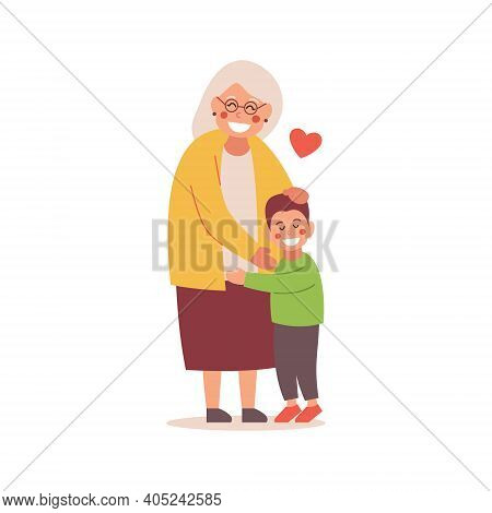 The Grandson Hugs His Grandmother. Vector Flat Design Illustration