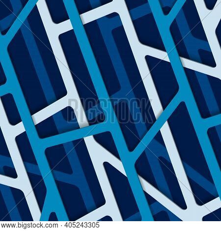 Abstract Background With Blue And White Paper Cut Lines. 3d Paper Cut Background. Abstract Realistic