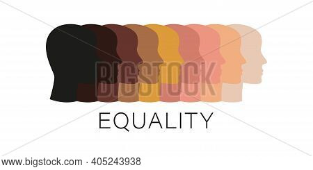 Racial Equality Different Flat Human Faces. No Rasism And Discrimination, Tolerance Concept Backgrou