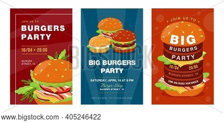 Trendy Big Burgers Party Invitation Designs. Creative Fast Food Festival Invitations With Tasty Junk
