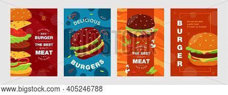 Bright Leaflet Designs With Tasty Junk Food. Colored Sliced Vegetables, Bacon And Green Salad In Bun