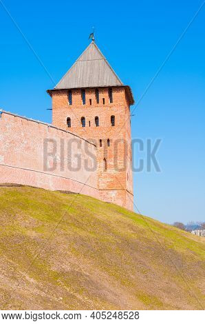 Veliky Novgorod, Russia, Savior Tower. Veliky Novgorod Kremlin Fortress In Spring Day