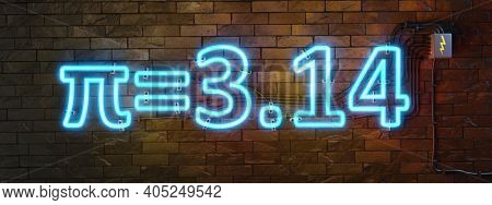 Neon lights sign number pi for march the 14th. 3D illustration