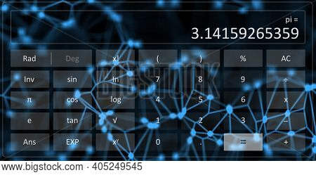An illustration of a scientific calculator with number pi