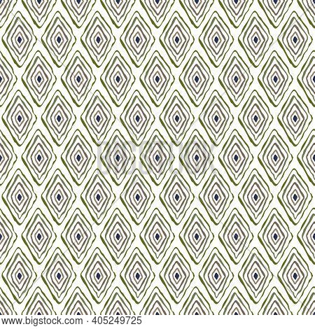 Vector Oblong Doodle Style Diamonds In Blue Green Brown On White Background Seamless Repeat Pattern.