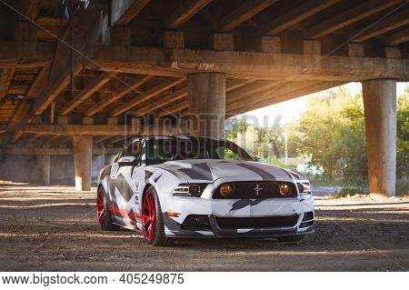Kharkiv, Ukraine - July 2019. American Muscle Car Ford Mustang Gt In An Unusual Design.