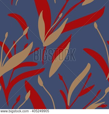 Seamless Pattern With Hand-drawn Red And Beige Plants And Branches On Blue Background. Elegant Linen