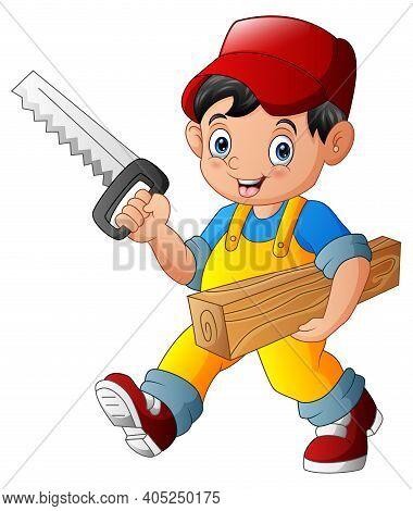 Handyman Holding Saw And Wood Plank Illustration