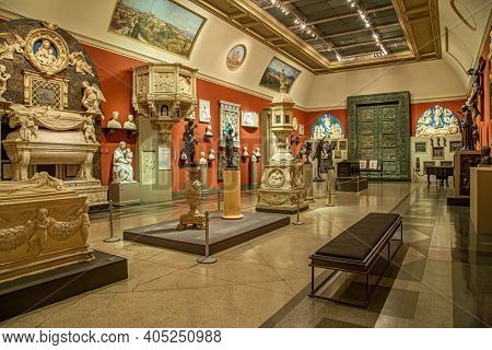 Moscow, Russia - January 26, 2021: Pushkin Museum of Fine Arts is largest museum of Europe art in Moscow