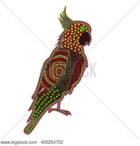 Cockatoo Isolated On White Background. Australia Aboriginal Cockatoo Dot Painting. Aboriginal Tribal