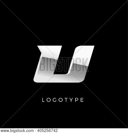 Steel U Letter. Business Monogram With Stainless Or Chrome Effect. Dynamic Logo Concept With Shiny A