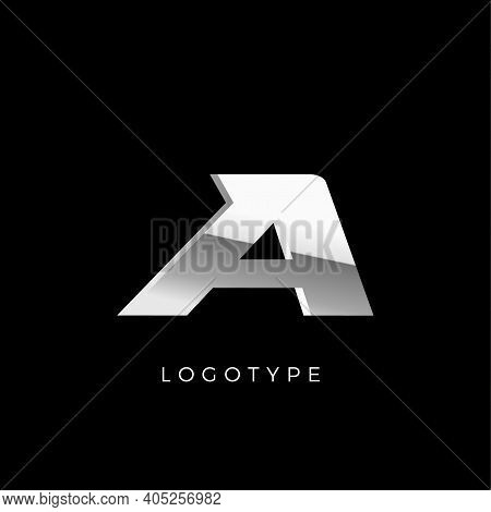 Steel A Letter. Business Monogram With Stainless Or Chrome Effect. Dynamic Logo Concept With Shiny A