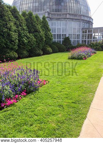 Detroit, Michigan / United States - September 4, 2014: Belle Isle Conservatory Grounds Portrait