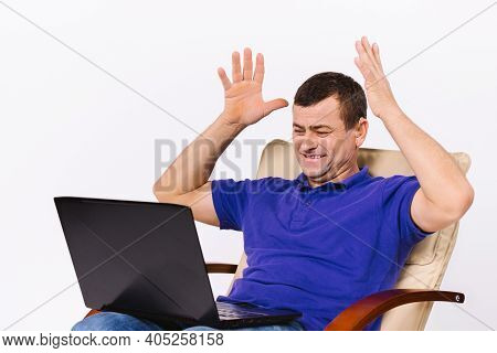 A Deaf Man With A Laptop Raised Both Hands Up In A Gesture Indicating That He Is Happy. Video Commun