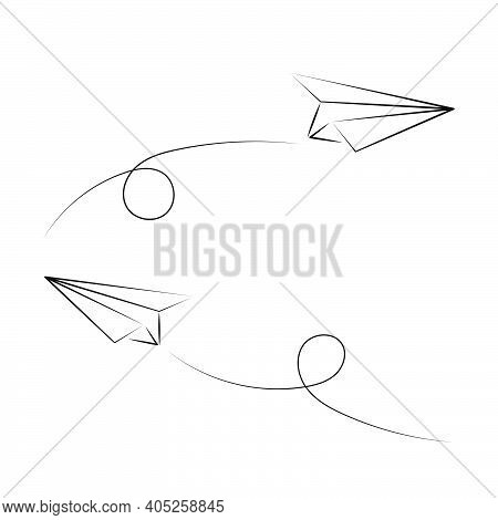 Vector Illustration Of Hand Drawn Pair Of Paper Planes. Isolated. Outline. Hand Drawn Doodle Airplan