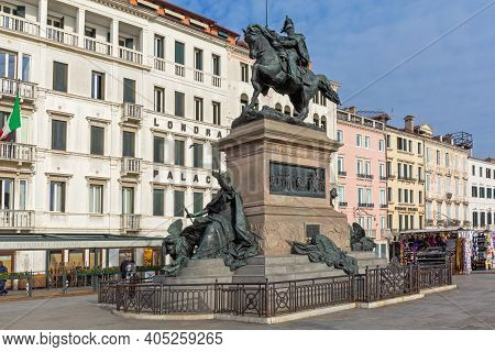 Venice, Italy - January 9, 2017: Equestrian Monument To Victor Emmanuel Ii In Venice, Italy.