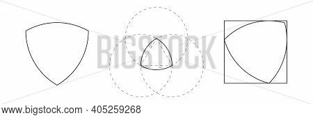 Black Reuleaux Triangle On White Background. Triangle With Constant Width. Vector Illustration. Reul