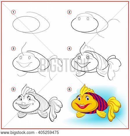 How To Draw Cute Toy Fish. Educational Page For Children. Creation Step By Step Animal Illustration.