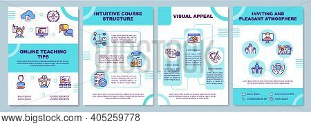 Online Teaching Tips Brochure Template. Intuitive Course Structure. Flyer, Booklet, Leaflet Print, C