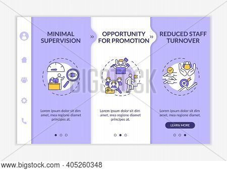 Employee Development Advantages Onboarding Vector Template. Minimal Supervision. Promotion Opportuni