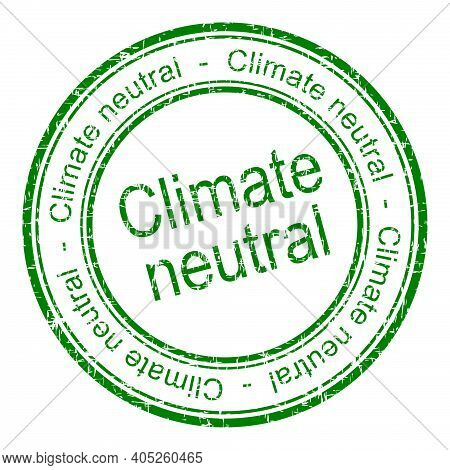 Climate Neutral Rubber Stamp Green - Illustration