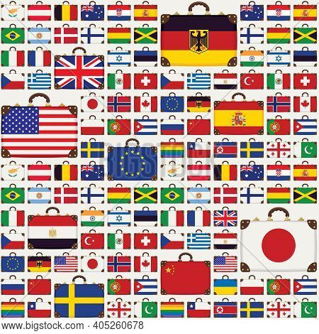 Vector Seamless Pattern With Travel Suitcases In The Colors Of The Flags Of Various Countries From A