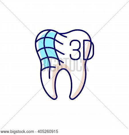 Digital Dentistry Rgb Color Icon. Contemporaty Stomatology. Dental Health Idea. Tooth Restoration Pr
