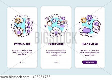 Saas Deployment Models Onboarding Mobile App Page Screen With Concepts. Private, Public, Hybrid Clou