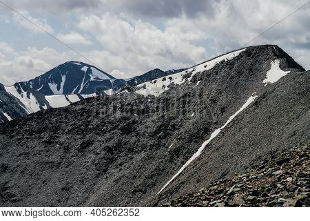Awesome Landscape With Beautiful Huge Glacial Mountains In Overcast Weather. Wonderful Snowy Mountai