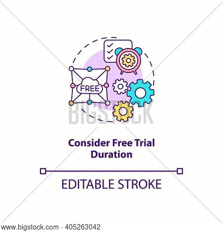Considering Free Trial Duration Concept Icon. Saas Trial Marketing Idea Thin Line Illustration. Acce