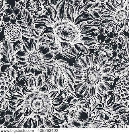 Seamless Pattern With Hand Drawn Chalk Poppy Flower, Gerbera, Sunflower, Milkweed, Dahlia Stock Illu