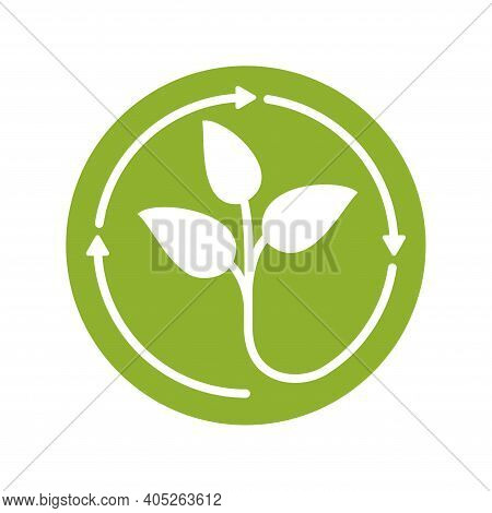 Recycle Waste Biomaterials And Biodegradable Sticker - Plant Sprout Turns Ty Recycle Symbol - Eco Fr