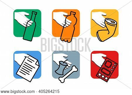 Waste Sorting, Separation Icons Set - Dumpster Marking Stickers With Hand And Garbage - Glass, Plast