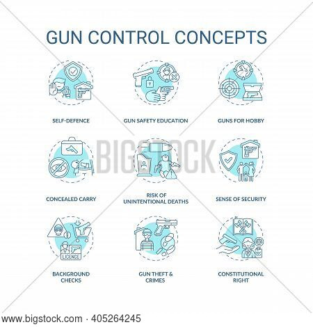 Gun Control Turquoise Concept Icons Set. Self Defense. Safety Education. Concealed Carry. Firearm Re
