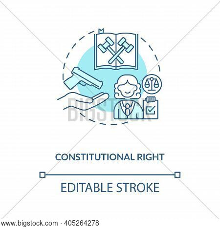 Constitutional Right Turquoise Concept Icon. Legislation For Firearm Ownership. Gun Rights, Weapon C