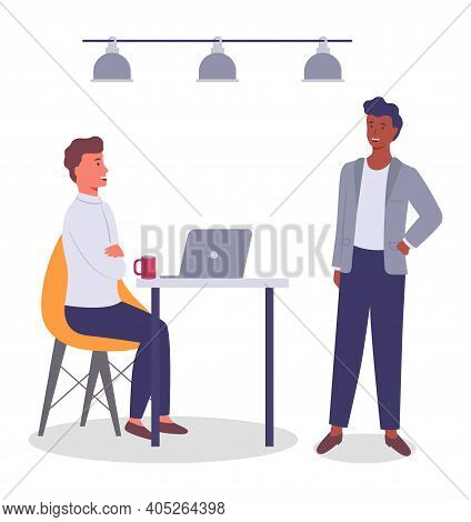 Businessmen Talking, Afro-american Black Guy Discussing Project With Colleague, Sitting Man With Cup