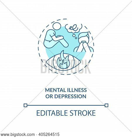 Mental Illness Or Depression Turquoise Concept Icon. Anxiety And Stress. Psychotherapy And Psychothe